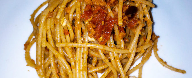 Stroncatura Pasta re-interpreted with whole wheat spaghetti